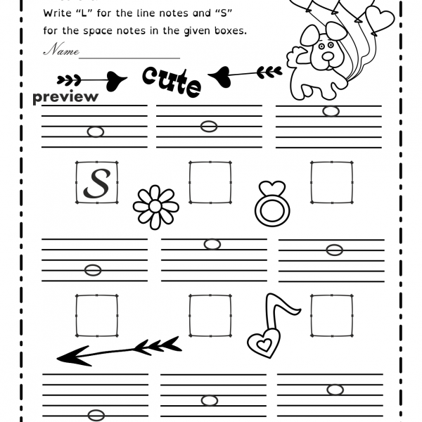 Valentine`s Day Music Worksheets {lines
