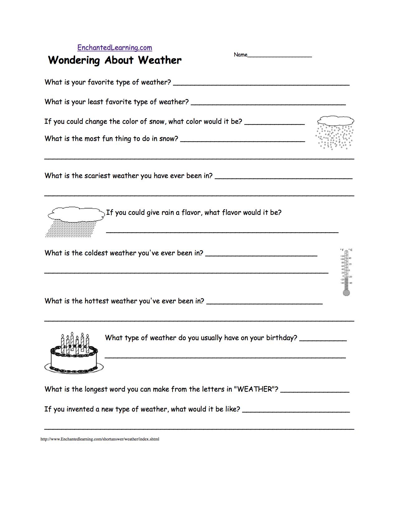 Weather Worksheet Middle School The Best Worksheets Image