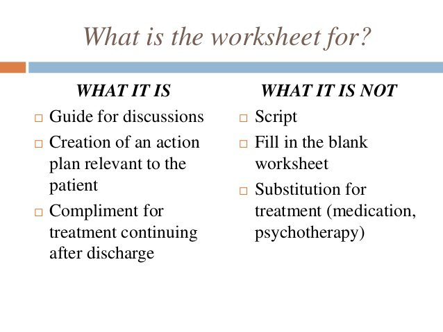 Wellness Recovery Action Plan Worksheets Post Crisis Wrap