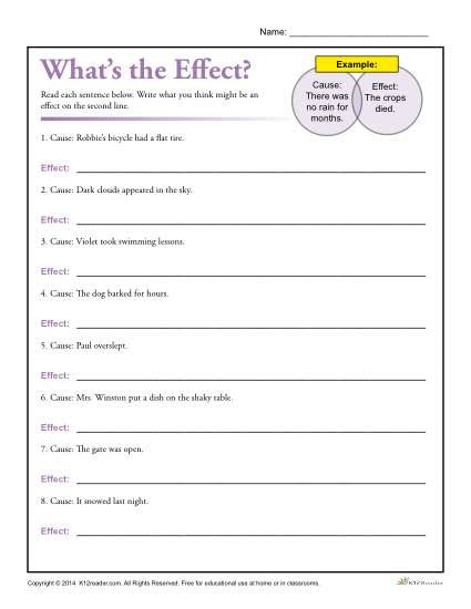 What's The Effect  Printable Cause And Effect Worksheet