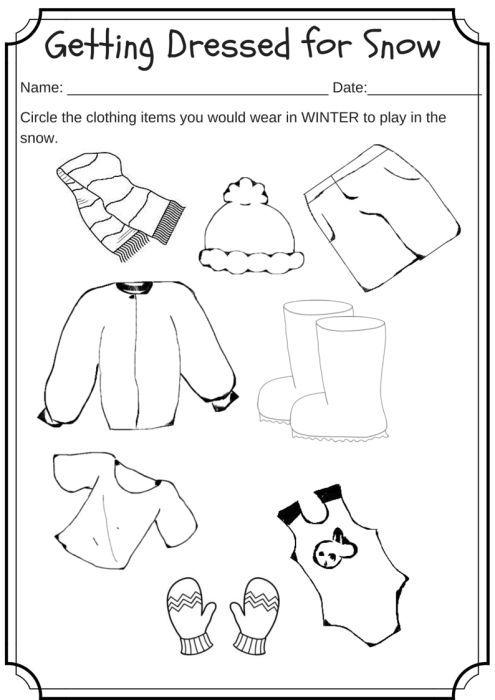 Winter Weather Wear Preschool Worksheet – What Would You Wear On A