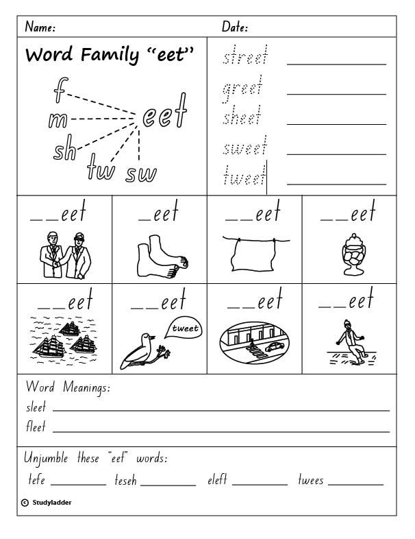Word Family  Eet , English Skills Online, Interactive Activity Lessons