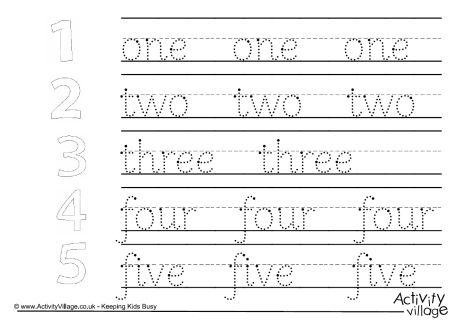 Word Handwriting Worksheets Mixed 1 To 10