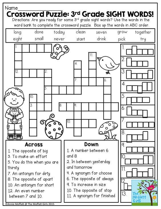 Word Search Puzzles For 2nd Graders Crossword Puzzle 3rd Grade