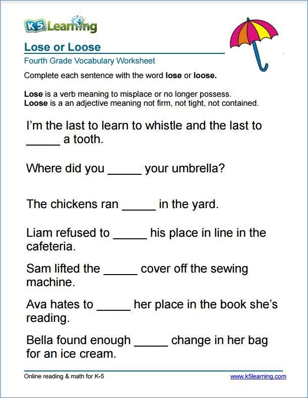 Worksheet For 4th Grade