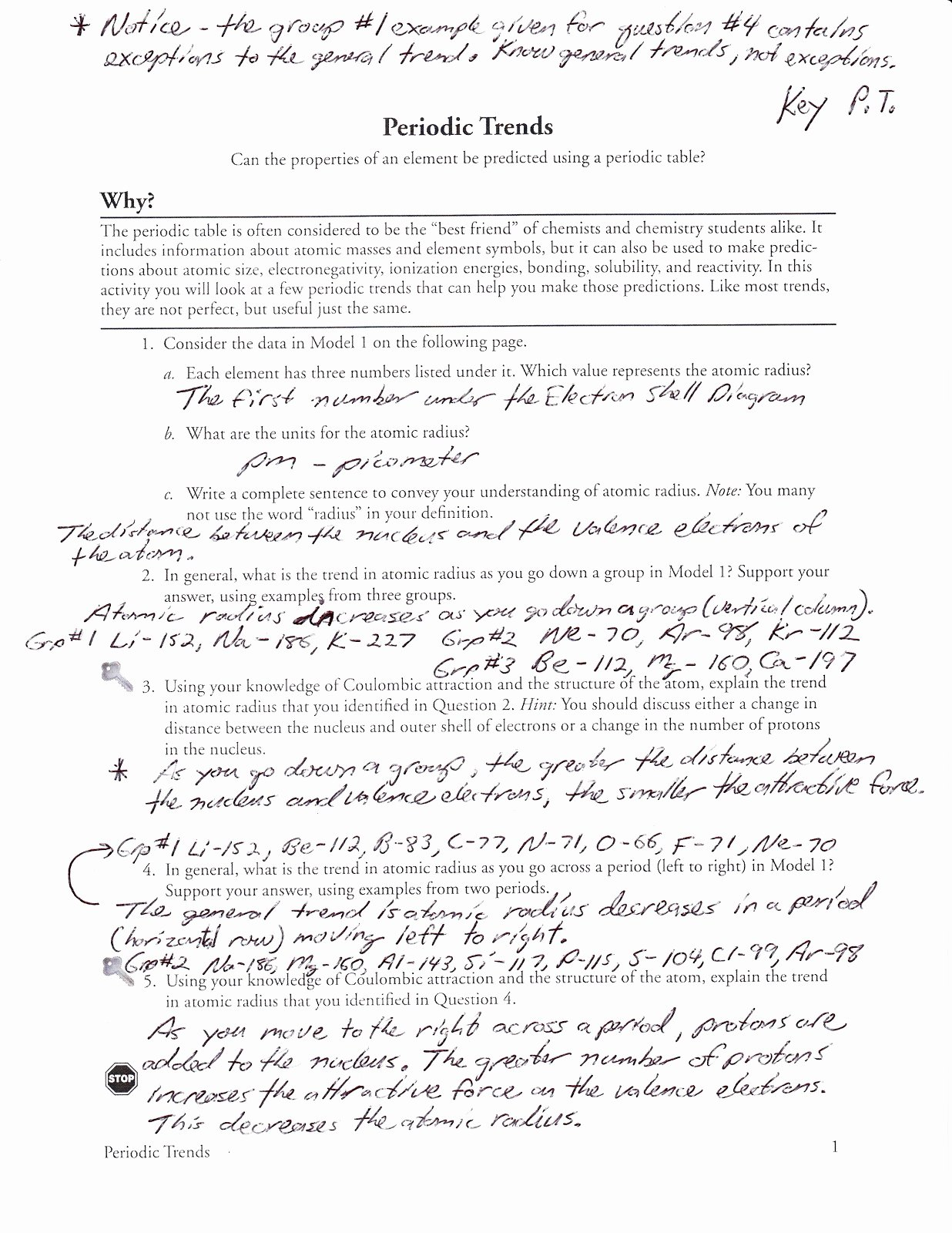 Worksheet Periodic Trends Answer Key The Best Worksheets Image