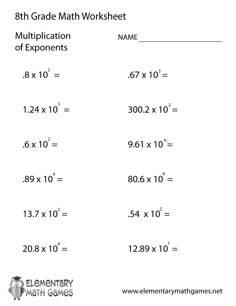 Worksheets For 8th Grade Math The Best Worksheets Image Collection