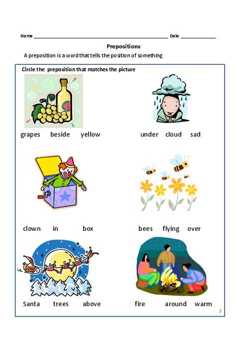 Worksheets For Grade 1 On Prepositions