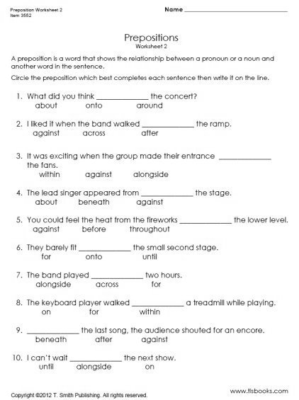 Worksheets For Prepositions With Images To Share