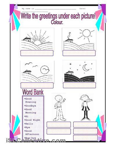 Worksheets Greetings Kindergarten