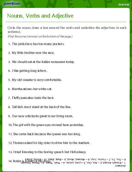 Worksheets Nouns Verbs And Adjectives