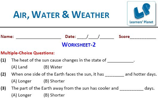 Worksheets On Science For Air, Water & Weather For Class 4 Kids