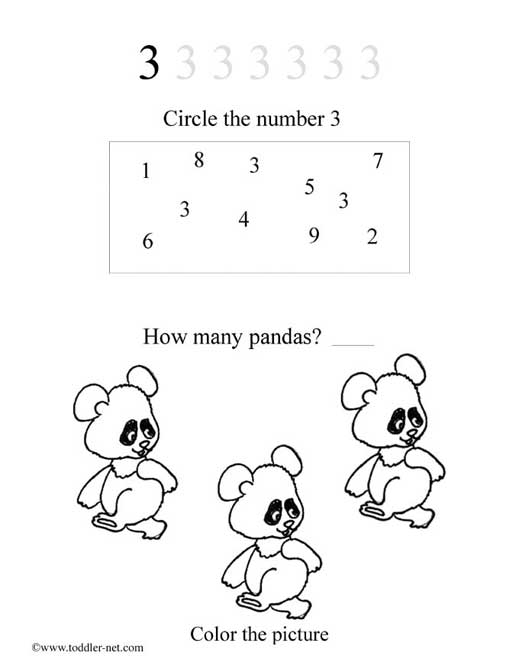 Worksheets On The Number 3