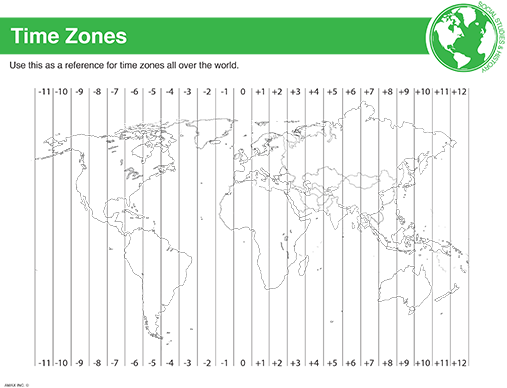 World Time Zone Reference Sheet