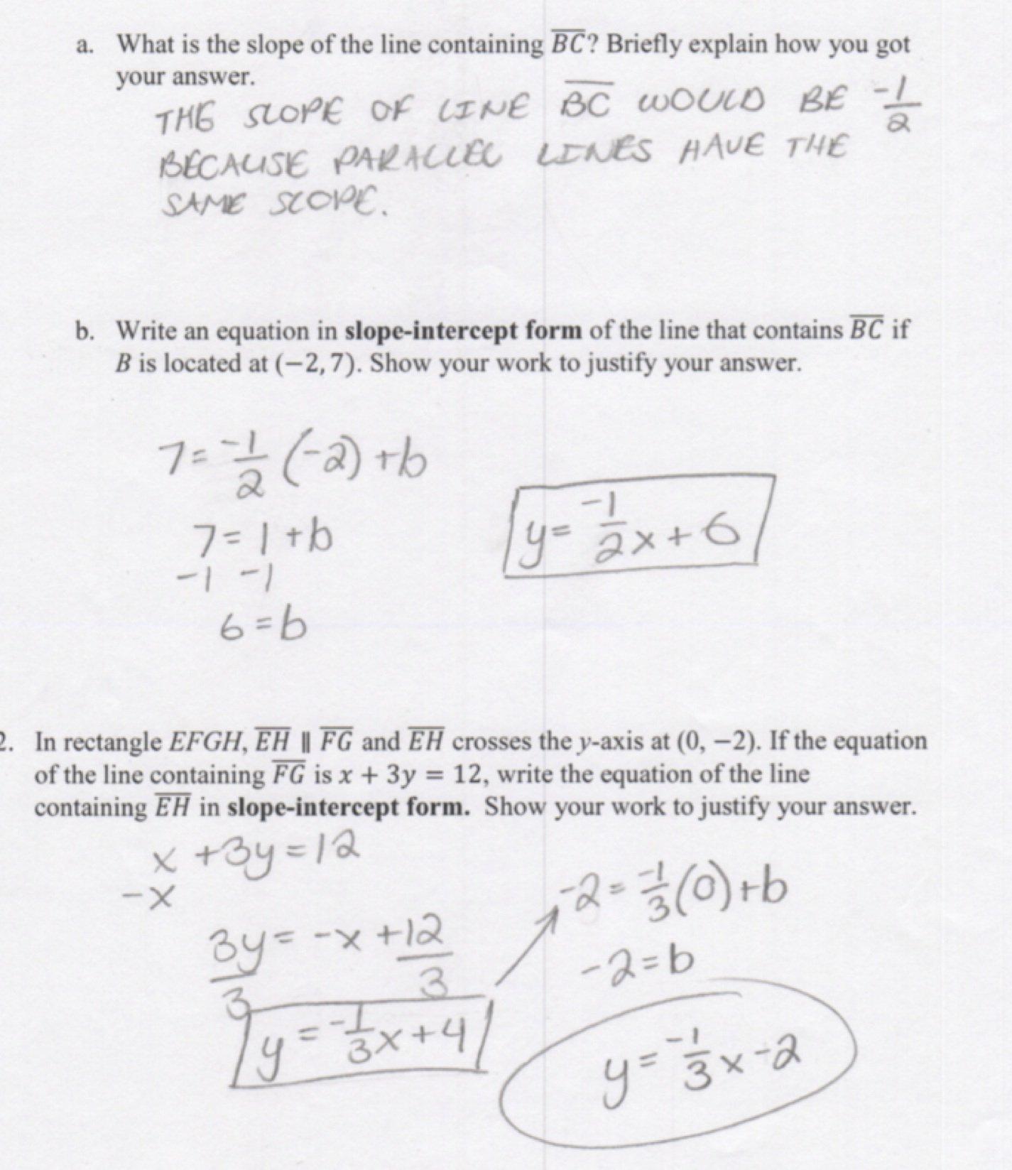 Write Equation Of Line In Slope Intercept Form Worksheet