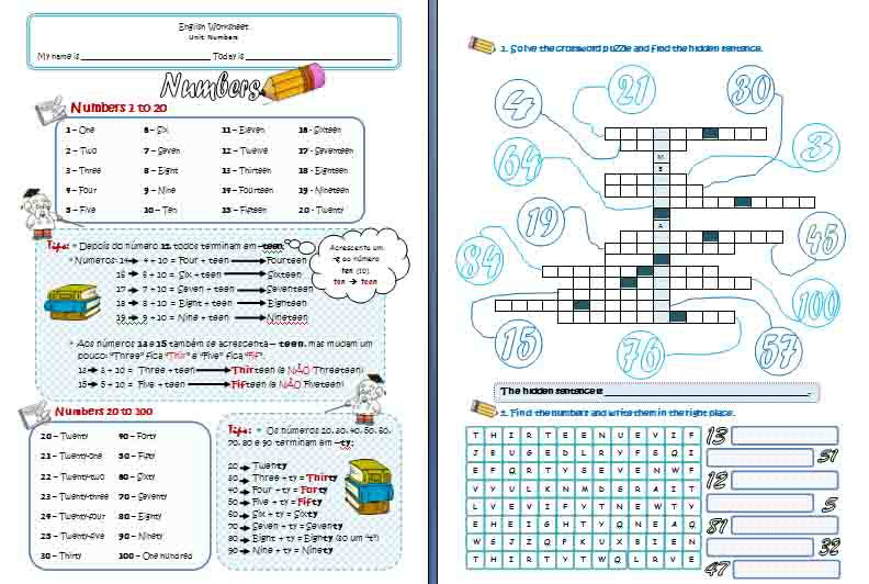 Writing Numbers In English Worksheets