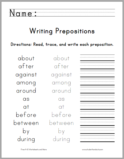 Writing The Top 25 Prepositions