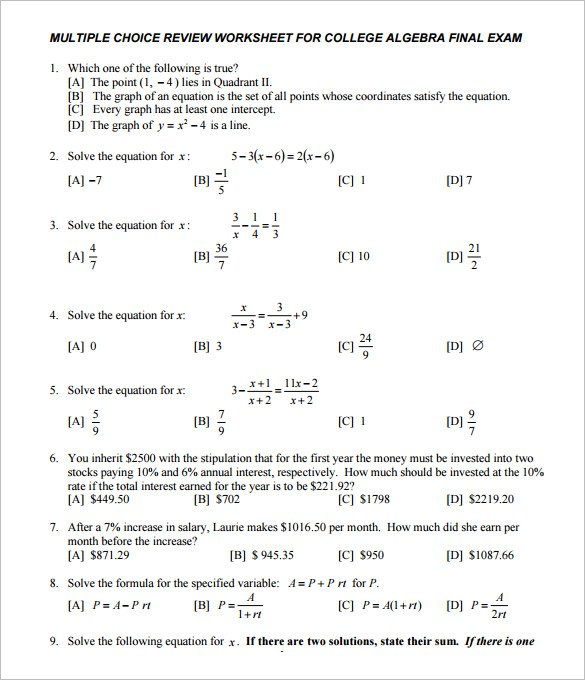 10+ College Algebra Worksheet Templates – Free Word & Pdf