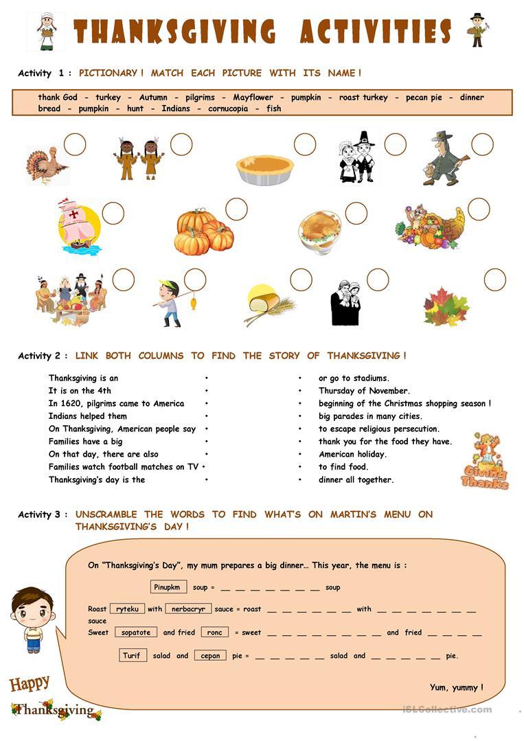 124 Free Esl Thanksgiving Worksheets