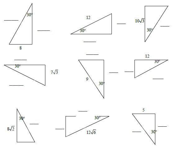 30 60 90 Triangle Worksheet 30 60 90 Triangle Worksheet With