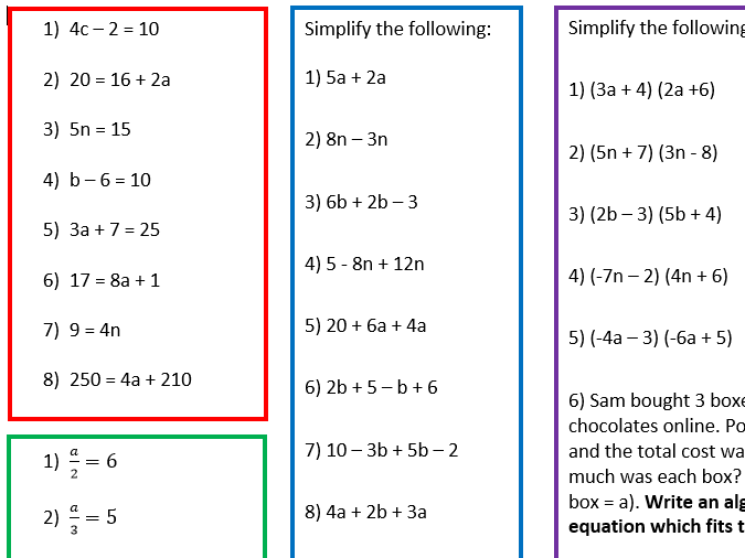 3 Differentiated Algebra Worksheets For Year 6 Students By