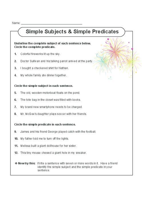 3rd Grade English Worksheets Subject Predicate