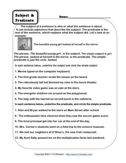 3rd Grade Subject And Predicate Worksheets Worksheets For All