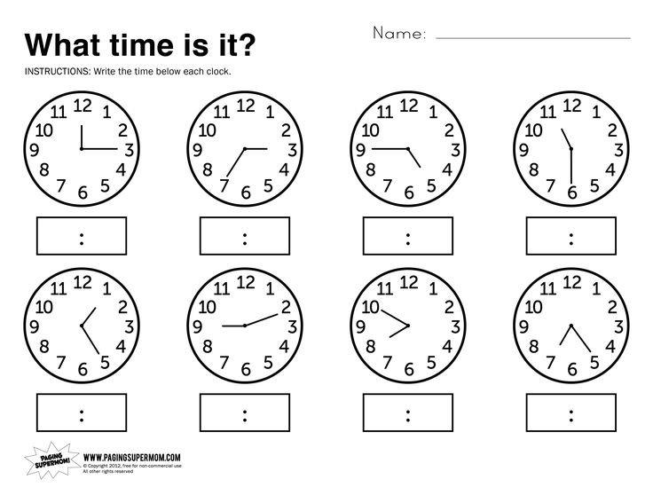 410 Best óra, O'clock Images On Free Worksheets Samples
