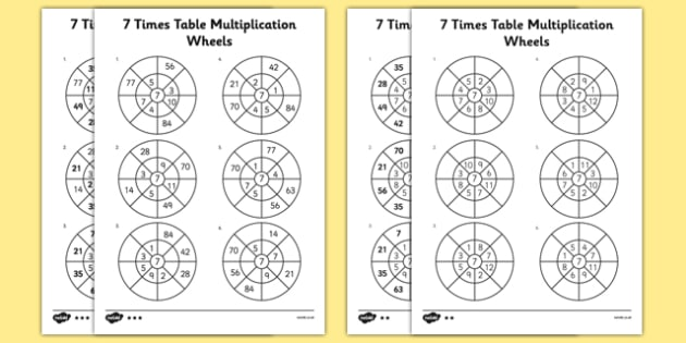 7 Times Table Multiplication Wheels Worksheet   Activity Sheet