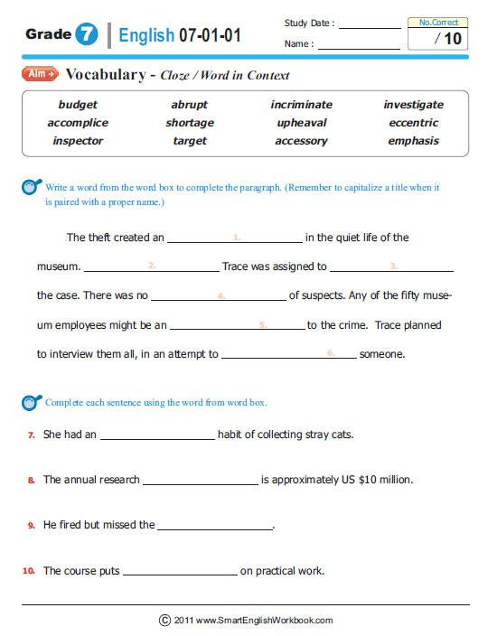 7th Grade Worksheets Language Arts