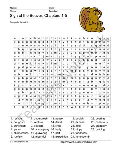 8 Best Sign Of The Beaver Unit Study Images On Free Worksheets Samples