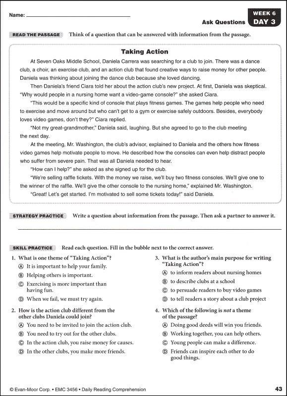 8th Grade Reading Comprehension Pdf