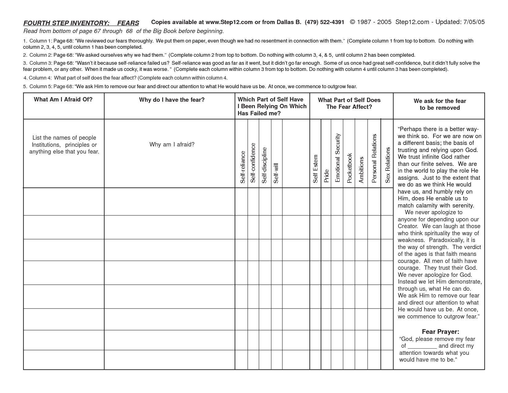 Aa Step 4 Worksheet Excel Streamclean Info