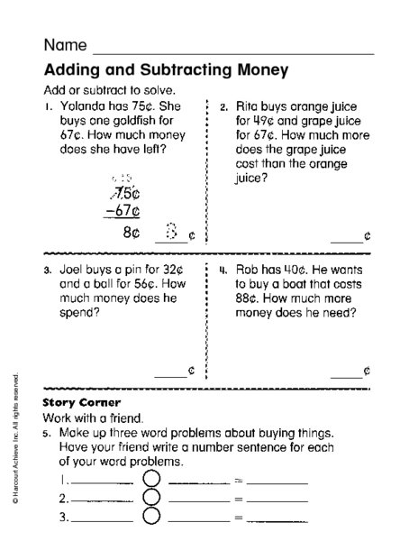 Add And Subtract Money Worksheets 3rd Grade
