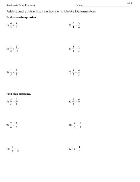 Adding And Subtracting Fractions Unlike Denominators Worksheet