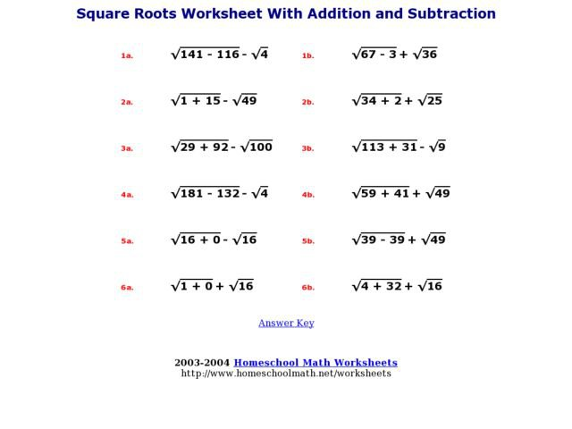 Adding And Subtracting Square Roots Worksheet Worksheets For All