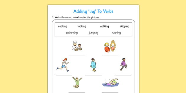 Adding Ing To Verbs Activity