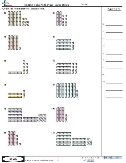 Adding Using Base Ten Blocks Worksheet Worksheets For All