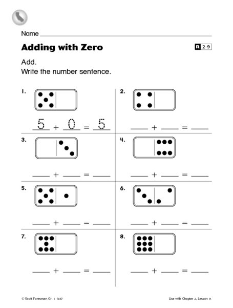 Adding Zero Worksheets First Grade