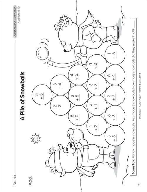 Addition And Subtraction Worksheets For First Grade Free