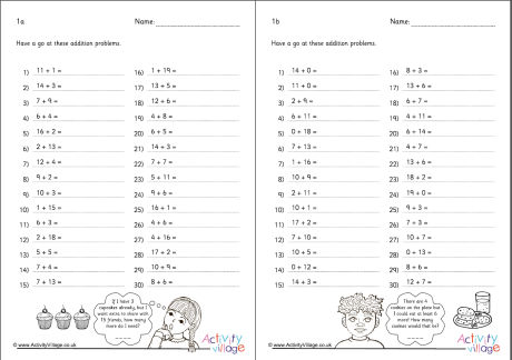 Addition Within 20 Practice Worksheets Set 1
