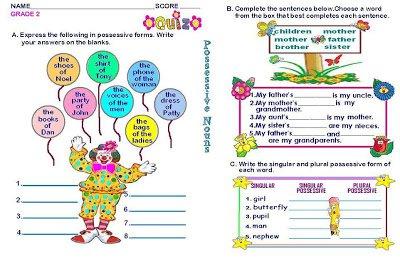 Adorable Possessive Nouns Worksheet For First Grade In Grammar