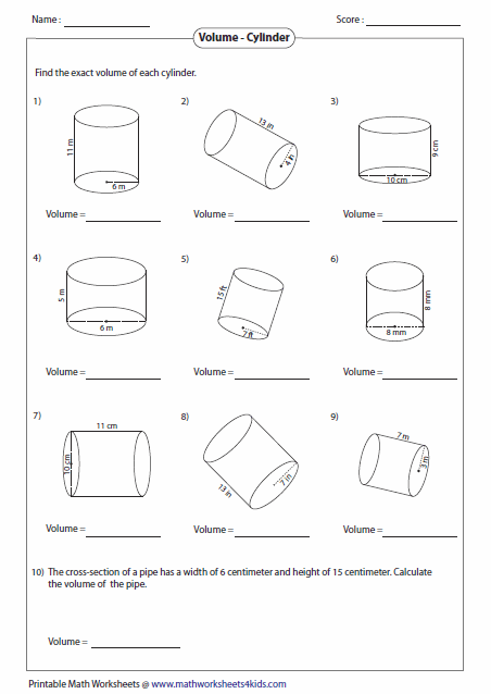 Adorable Volume Of A Cylinder Worksheets Math Aids On Eighth Grade