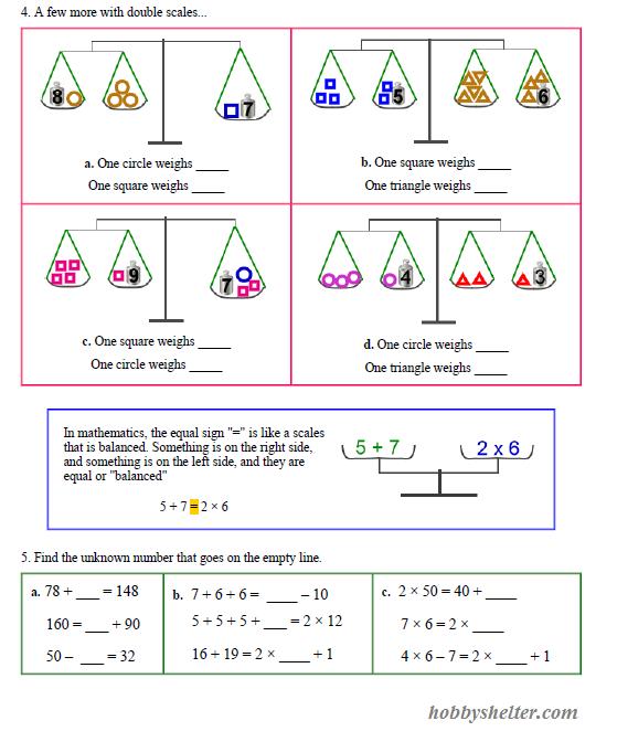 Algebra Balance Scales Worksheet Worksheets For All
