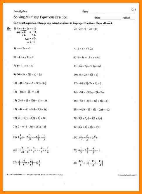 Algebra Multi Step Equations Worksheets Worksheets For All