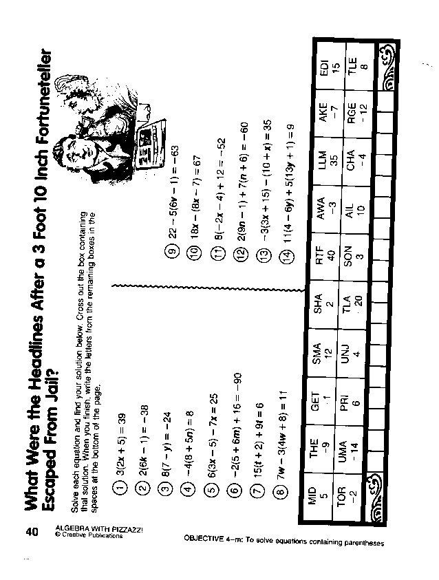 Algebra With Pizzazz Worksheet Answers Pre Algebra With Pizzazz