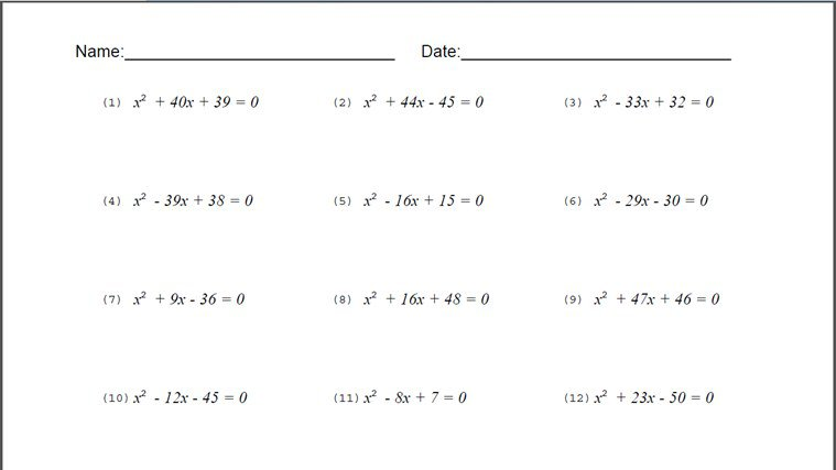 Algebra Worksheets 8th Grade Free