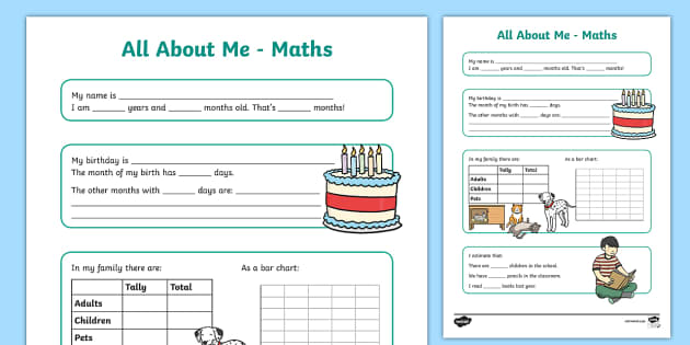 All About Me Maths Display Poster Worksheet Year 3