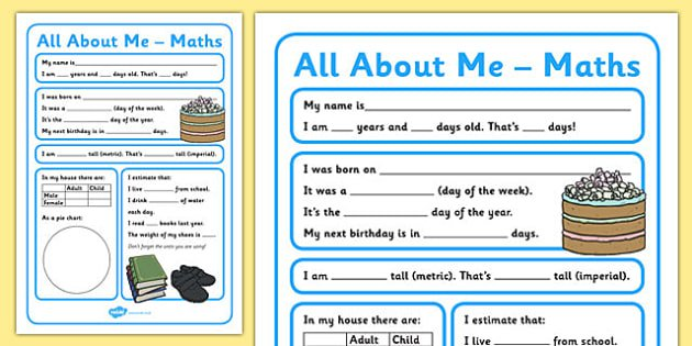 All About Me Maths Display Poster Worksheet Year 5