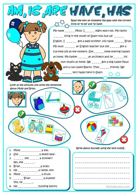 Am ,is, Are, Have, Has Worksheet